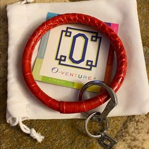 O-venture leather key ring in Cherry croc